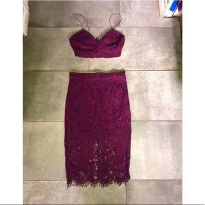 Maroon skirt set